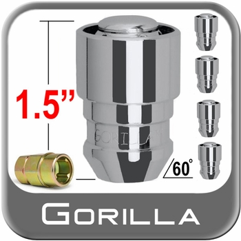 "Gorilla® 1/2"" x 20 Jeep Wrangler CJ Wheel Locks Tapered (60°) Seat Right Hand Thread Chrome 5 Locks w/Key #61681B5"