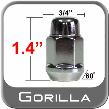 Gorilla® 10mm x 1.25 Chrome Lug Nuts Tapered (Bulge)(60°) Seat Right Hand Thread Chrome Sold Individually #41118