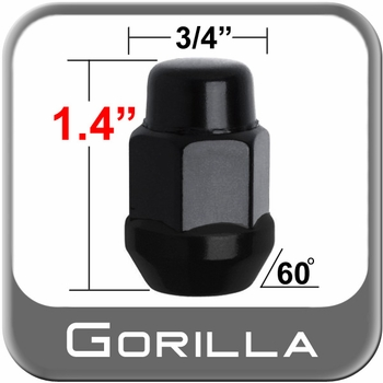 Gorilla® 12mm x 1.25 Black Lug Nuts Tapered (60°) Seat Right Hand Thread Black Sold Individually #41128BC