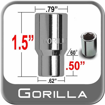 Gorilla® 12mm x 1.25 Hex Socket Lug Nuts Mag (E-T Tapered 60°) Seat Right Hand Thread Chrome Sold Individually #21028