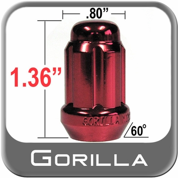 Gorilla® 12mm x 1.25 Lug Nuts Tapered (60°) Seat Right Hand Thread Red Sold Individually #21128RD