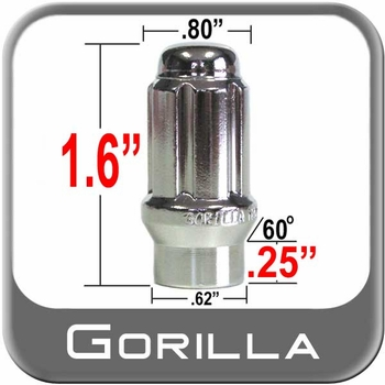 Gorilla® 12mm x 1.25 Lug Nuts Mag (E-T Tapered 60°) Seat Right Hand Thread Chrome Sold Individually #21128ET