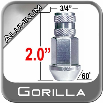Gorilla® 12mm x 1.25 Silver Aluminum Racing Lug Nuts Tapered (Bulge)(60°) Seat Right Hand Thread Silver Sold Individually #44028AL