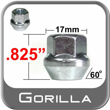 Gorilla® 12mm x 1.25 Zinc Plated Lug Nuts Tapered (Bulge)(60°) Seat Right Hand Thread Silver Sold Individually #30028