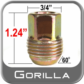 Gorilla® 12mm x 1.5 GM Lug Nuts - Small Tapered (60°) Seat Right Hand Thread Yellow, Gold Sold Individually #41138GMS