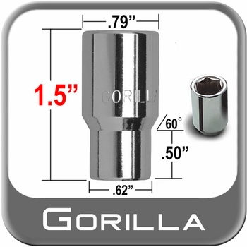 Gorilla® 12mm x 1.5 Hex Socket Lug Nuts Mag Seat Right Hand Thread Chrome Sold Individually #21038