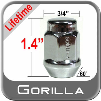 Gorilla® 12mm x 1.5 Lifetime Guarantee Lug Nuts Tapered (Bulge)(60°) Seat Right Hand Thread Chrome Sold Individually #41138LT