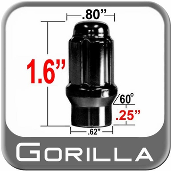 Gorilla® 12mm x 1.5 Lug Nuts Mag (E-T Tapered 60°) Seat Right Hand Thread Black Chrome Sold Individually #21138ETBC