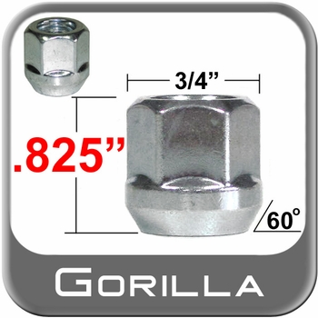 Gorilla® 12mm x 1.5 Open End Lug Nuts Tapered (Bulge)(60°) Seat Right Hand Thread Silver Sold Individually #40038