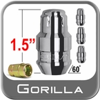 Gorilla® 12mm x 1.5 Wheel Locks Tapered (60°) Seat Right Hand Thread Chrome 4 Locks w/Key #61631N