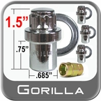 Gorilla® 12mm x 1.5 Wheel Locks Mag Seat Right Hand Thread Chrome 4 Locks w/Key #63631N