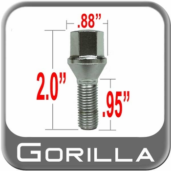 Gorilla® 12mm x 1.5 Wheel Lug Bolt Cone/Tapered (60°) Seat Right Hand Thread Chrome Sold Individually #17100