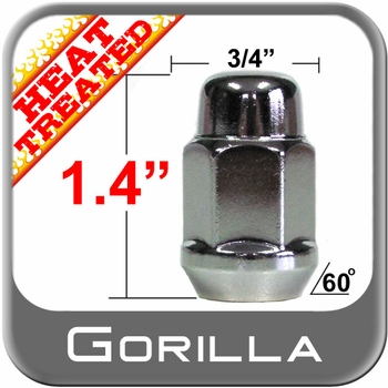 Gorilla® 12mm x 1.75 Chrome Lug Nuts Tapered (60°) Seat Right Hand Thread Chrome Sold Individually #41168HT