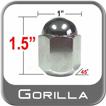 Gorilla® 14mm x 1.5 Chrome Duallie Lug Nuts Tapered (45°) Seat Right Hand Thread Chrome Sold Individually #21148