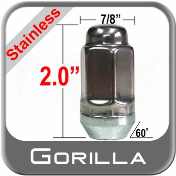 Gorilla® 14mm x 2.0 Stainless Steel Lug Nuts Tapered (Bulge)(60°) Seat Right Hand Thread Stainless Steel Sold Individually #96108SS