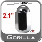"Gorilla® 5/8"" x 18 Chrome Duallie Lug Nuts Tapered (45°) Seat Right Hand Thread Chrome Sold Individually #21258"