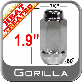 "Gorilla® 9/16"" x 18 Chrome Lug Nuts Cone/Tapered Bulge (60°) Seat Right Hand Thread Chrome Sold Individually #76198HT"