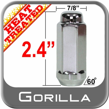 """Gorilla® 9/16"""" x 18 Chrome Lug Nuts Tapered (Bulge)(60°) Seat Right Hand Thread Chrome Sold Individually #76198XLHT"""