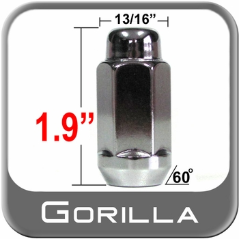 """Gorilla® 9/16"""" x 18 Chrome Lug Nuts Tapered (60°) Seat Right Hand Thread Chrome Sold Individually #91198XL"""
