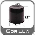 Gorilla® Black Wheel Hub Cover Recessed w/Emblem Indentation Cylindrical w/Tapered Tip Sold Individually #HC211BC