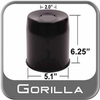 Gorilla® Black Wheel Hub Cover Recessed w/Emblem Indentation Cylindrical w/Tapered Tip Sold Individually #HC211LBC