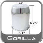 Gorilla® Chrome Wheel Hub Cover Recessed w/Emblem Indentation Cylindrical w/Tapered Tip Sold Individually #HC211LA