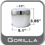 Gorilla® Chrome Wheel Hub Cover Recessed w/Emblem Indentation Cylindrical w/Tapered Tip Sold Individually #HC211ST