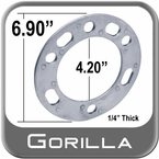 Gorilla® Silver Wheel Spacers 5 & 6 Hole (Variable) Round Sold Individually #SP603