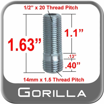 Gorilla® Silver Wheel Stud Open (Female) Sold Individually #77748N