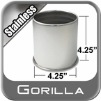 Gorilla® Stainless Wheel Hub Cover Open w/Rolled Edge Cylindrical Sold Individually #HC204SS