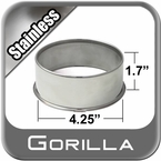 Gorilla® Stainless Wheel Hub Cover Open w/Rolled Edge Cylindrical Sold Individually #HC214SS