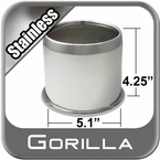 Gorilla® Stainless Wheel Hub Cover Open w/Rolled Edge Cylindrical w/Tapered Tip Sold Individually #HC212SS