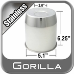 Gorilla® Stainless Wheel Hub Cover Recessed w/Emblem Indentation Cylindrical w/Tapered Tip Sold Individually #HC211LSS