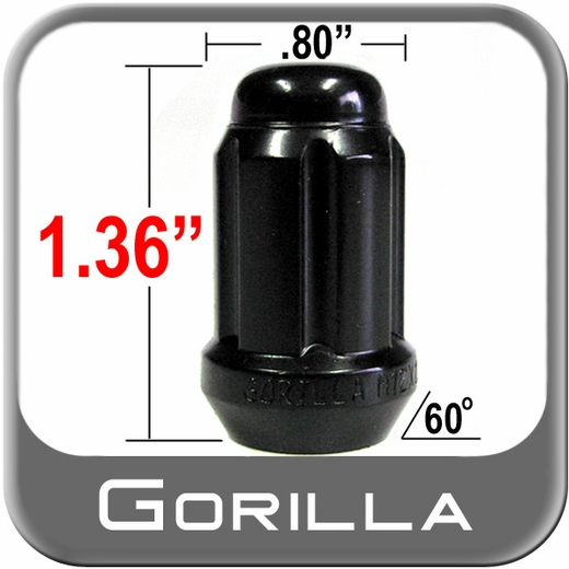 Gorilla® 12mm x 1.25 Lug Nuts Tapered (60°) Seat Right Hand Thread Black Sold Individually #21128BC