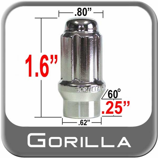 Gorilla® 12mm x 1.25 Lug Nuts Mag Seat Right Hand Thread Chrome Sold Individually #21128ET