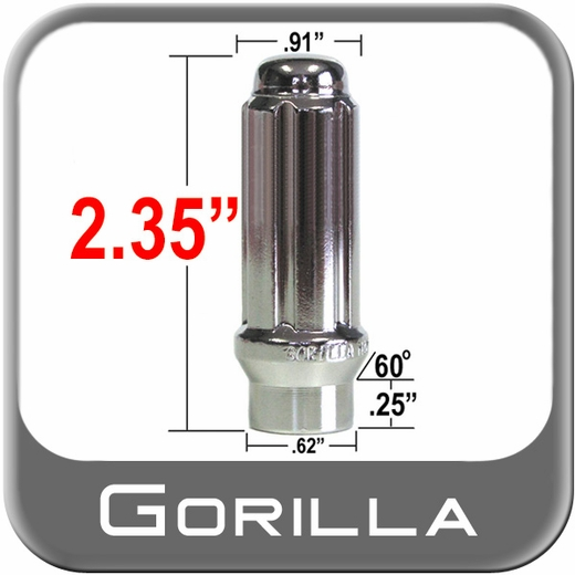 Gorilla® 14mm x 1.5 Lug Nuts Mag (E-T Tapered 60°) Seat Right Hand Thread Chrome Sold Individually #26148ET