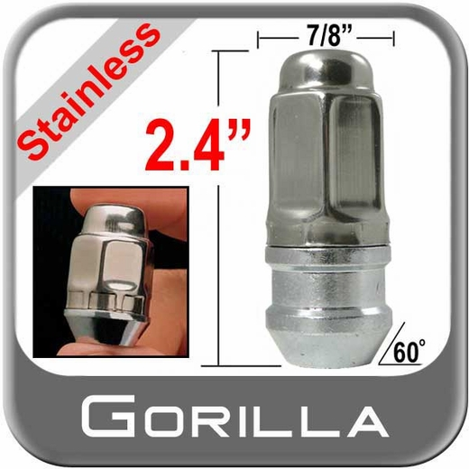 """Gorilla® 9/16"""" x 18 Stainless Steel Lug Nuts Tapered (60°) Seat Right Hand Thread Stainless Steel Sold Individually #96198XLSS"""