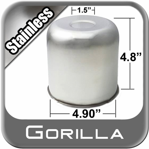 Gorilla® Stainless Wheel Hub Cover Recessed w/Emblem Indentation Cylindrical w/Dome Tip Sold Individually #HC203SS