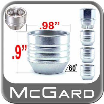 McGard® 14mm x 2.0 Wheel Locks Tapered (60°) Seat Right Hand Thread Silver 4 Locks w/Key #24024