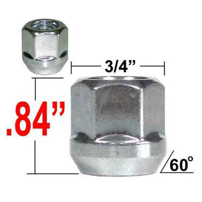 Gorilla® 12mm x 1.75 Open End Lug Nuts Tapered (60°) Seat Right Hand Thread Silver Sold Individually #40068
