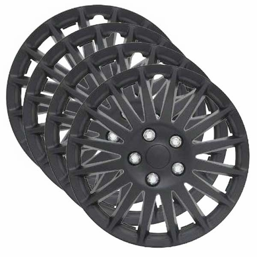 "Pilot Automotive 15"" Black Hub Caps Black Indy Style, 16-Spoke Set of 4 #WH521-15C-B"