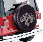 "Plasticolor Harley Davidson Spare Tire Cover Black Vinyl Material/Color Fits 27""-31"" Tires w/Black & Gray Harley Logo #795"