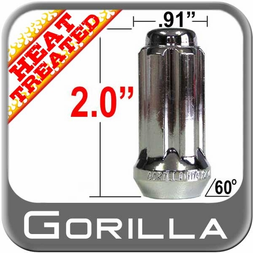 Gorilla® 14mm x 1.5 Lug Nuts Tapered (Bulge)(60°) Seat Right Hand Thread Chrome Sold Individually #26148HT