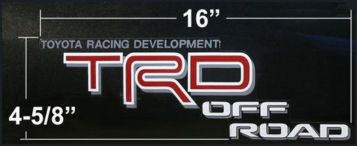 Genuine Toyota TRD Off Road Decal TRD Off Road Sticker Red & White w/Gray Drop Shadow Sold Individually #75996-04050-D0