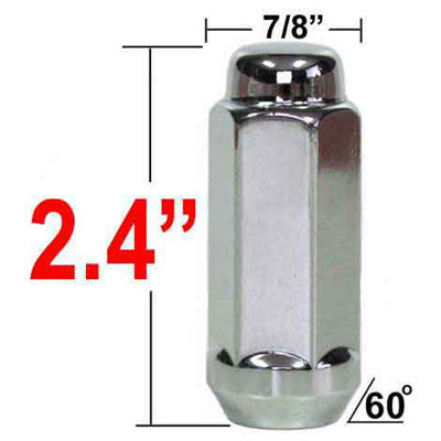 West Coast Wheel® 14mm x 2.0 Chrome Lug Nuts Tapered (Bulge)(60°) Seat Right Hand Thread Chrome Sold Individually #W7842XL