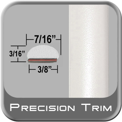 """7/16"""" Wide Fender Trim White (PT17) Sold by the Foot Precision Trim® #2150-17-01"""