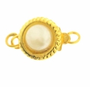 10mm Gold Plated Pearl Push Clasp (1PC)