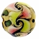 19mm Beige Pink/Lime Swirl Design Disc Lampwork Beads (5PK)