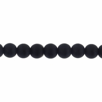 4mm Black Frosted Round Glass Beads (75PK)