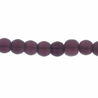 4mm Purple Frosted Round Glass Beads (75PK)